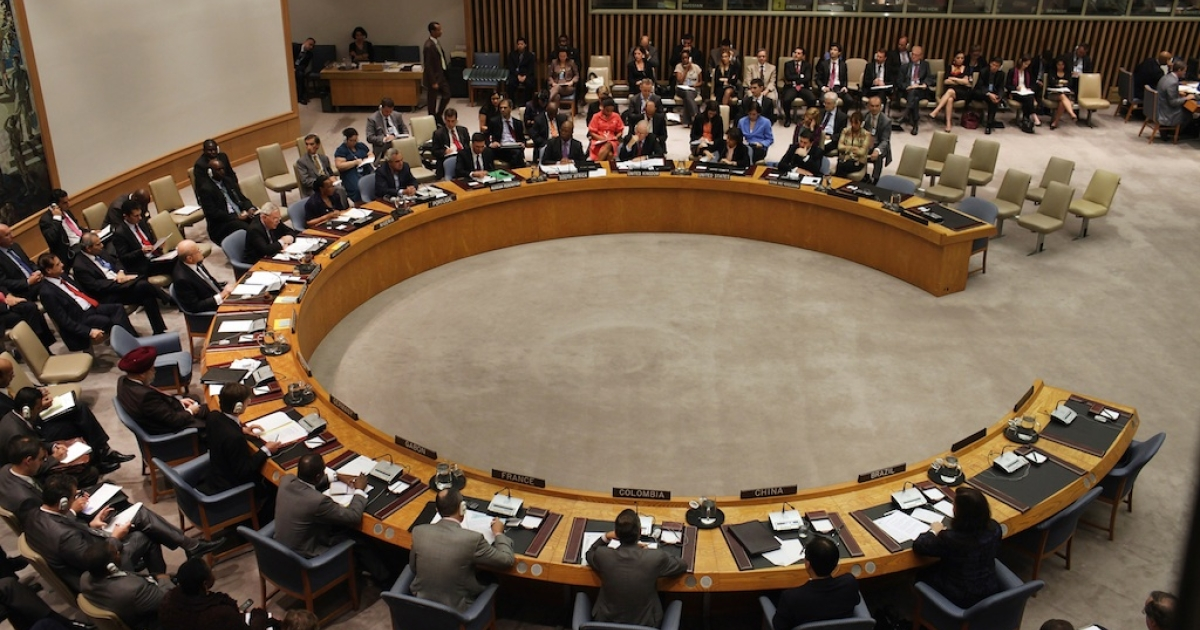 Members of the United Nations Security Council meet in New York on September 2011.</p>