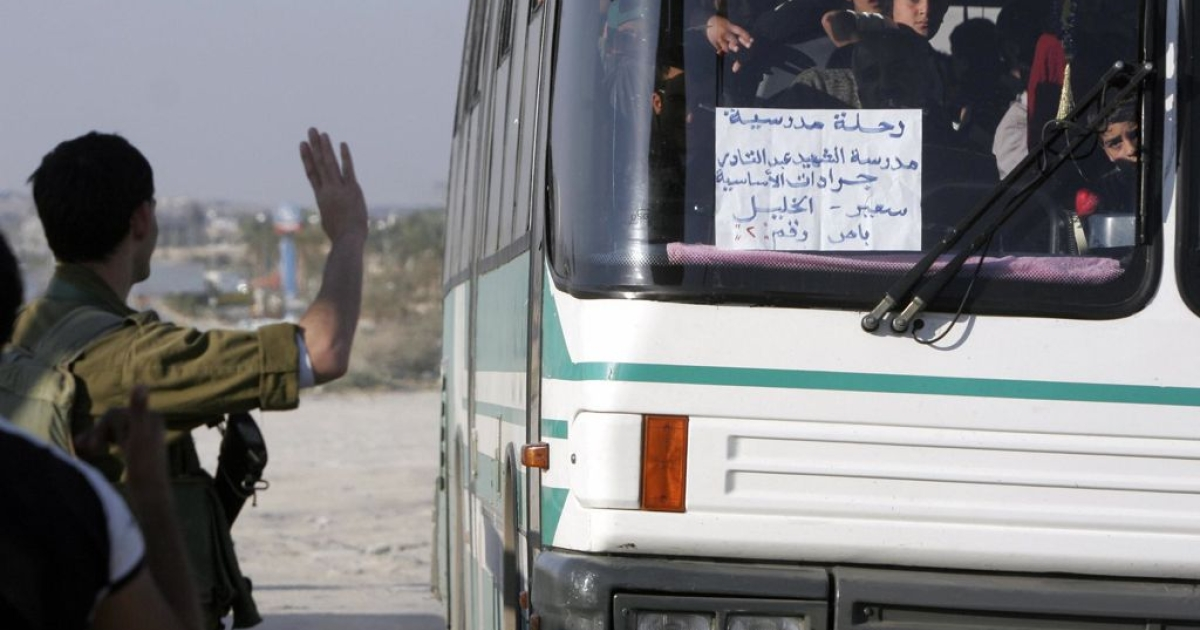 Palestinian students on a school bus in Jericho. Today's accident reportedly involved Palestinian children going on a school trip to the West Bank.</p>