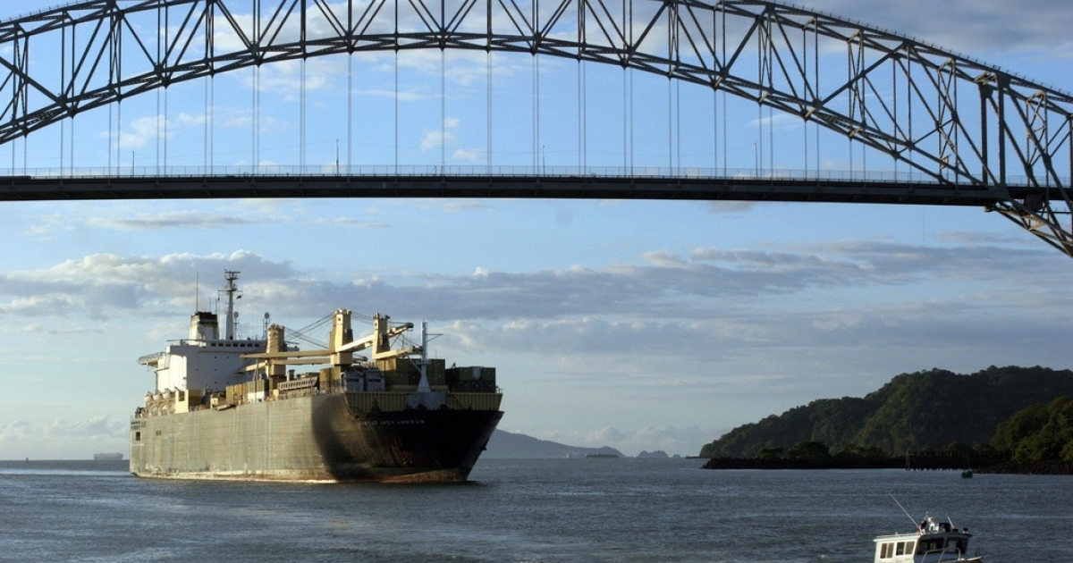 A ship sails through the Pacific Ocean's entry to the Panama Canal on Oct. 19, 2006.</p>
