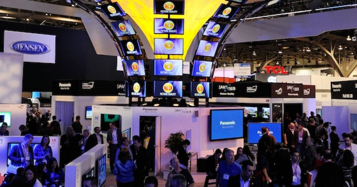 A general view of the Panasonic booth at the 2012 International Consumer Electronics Show at the Las Vegas Convention Center on January 10, 2012.</p>