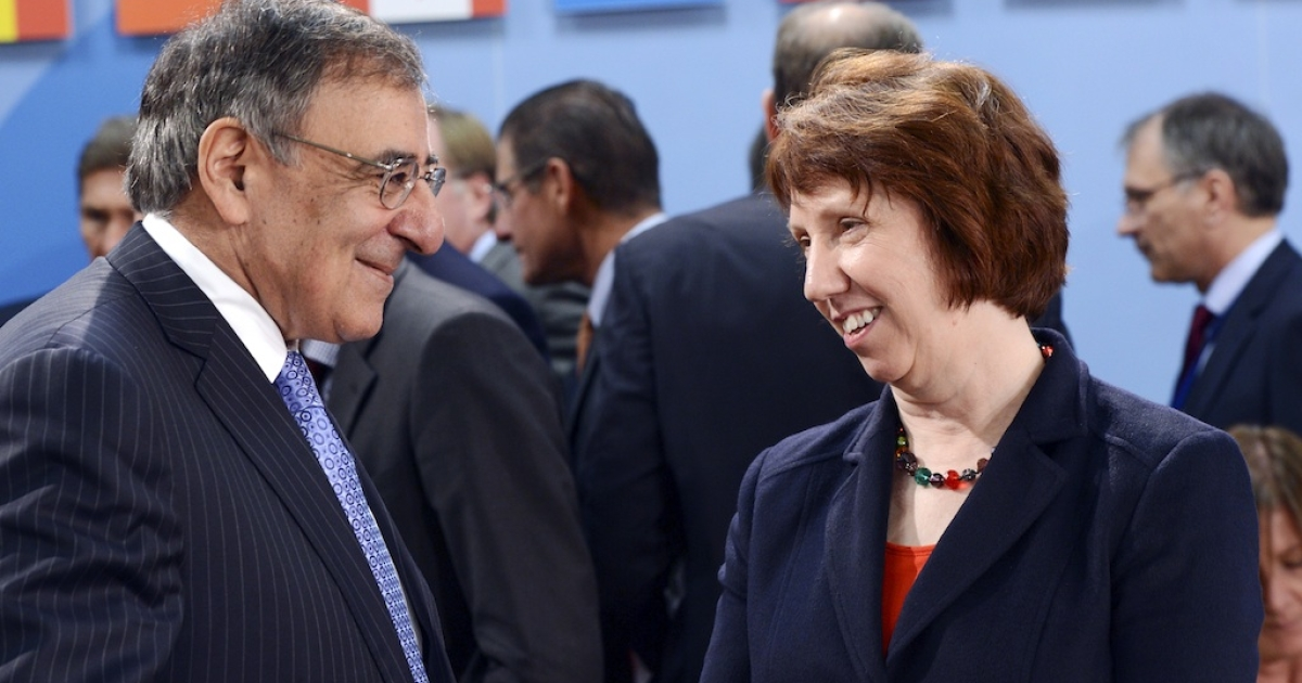 US Defence Secretary Leon Panetta (L) talks with European Union Commissioner for Foreign Affairs and Security Catherine Ashton prior to the start of the NATO Defence Ministers' meeting held at the NATO headquarter in Brussels on October 9, 2012.</p>