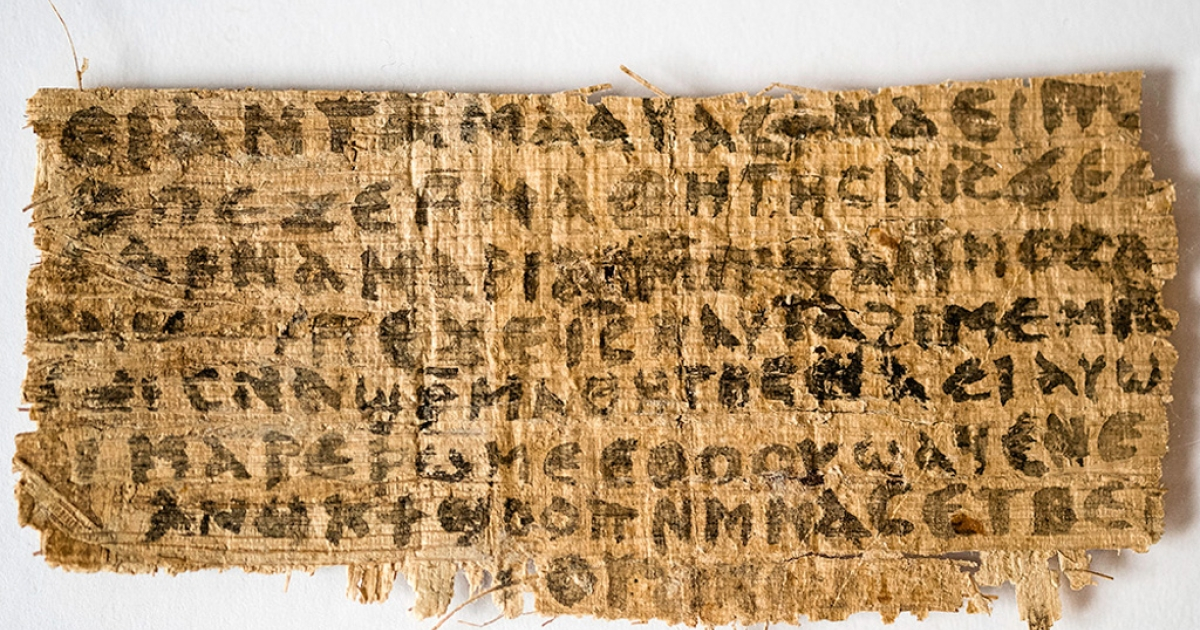 "Professor Karen L. King presented a small scrap of papyrus today at the International Congress of Coptic Studies in Rome that includes the phrase, ""Jesus said to them, my wife.""</p>"