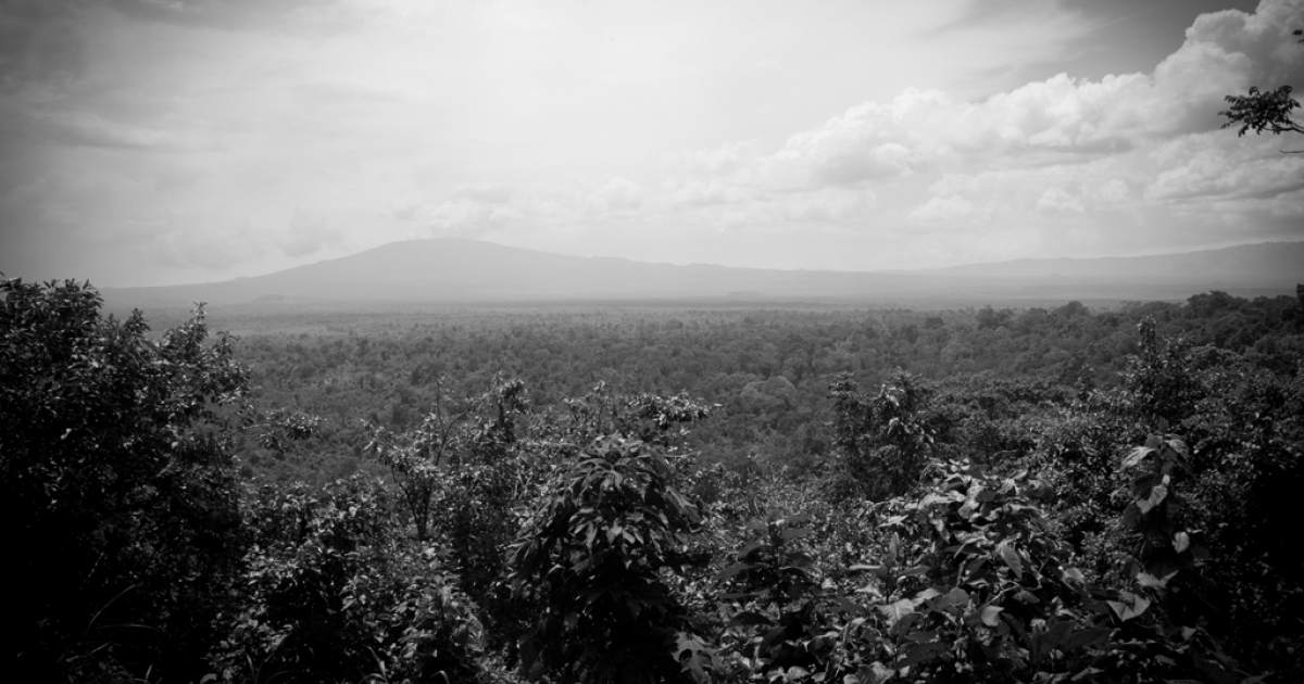 View of the Virunga National Park from the the ranger headquarter in Rumangabo, Democratic Republic of Congo.</p>