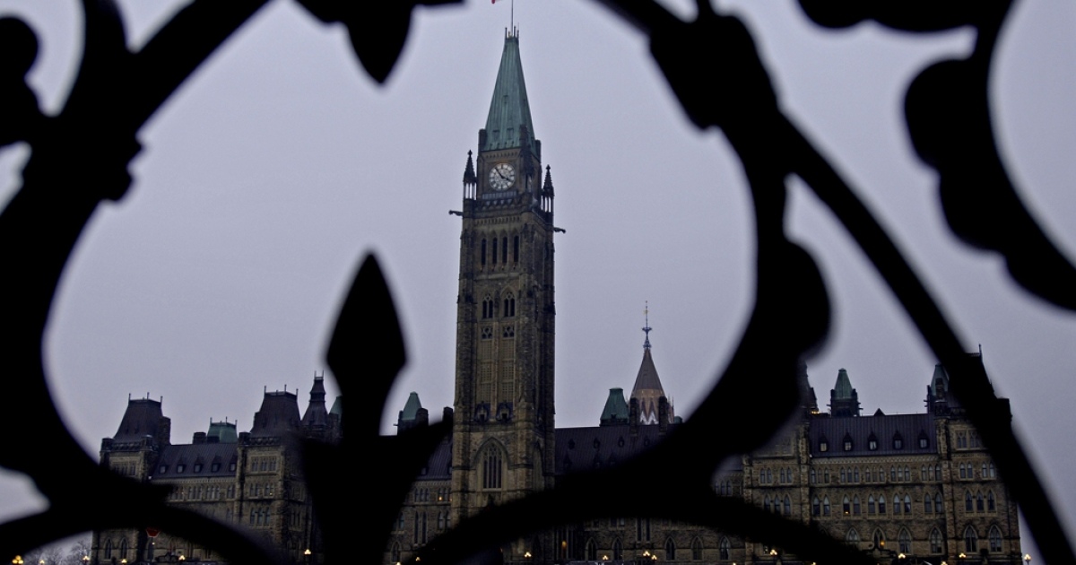 A view of Parliament Hill in Ottawa, Ont., Canada.</p>