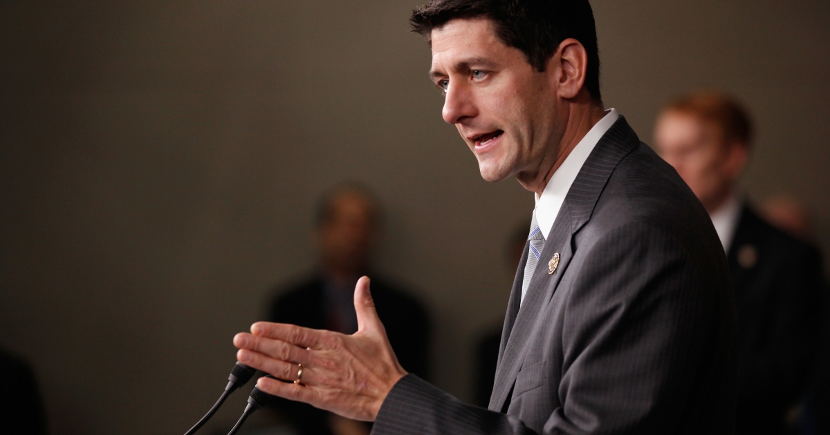 House Budget Committee Chairman Paul Ryan (R-Wis.) takes reporters' questions during a news conference at the US Capitol on Dec. 7, 2011.</p>