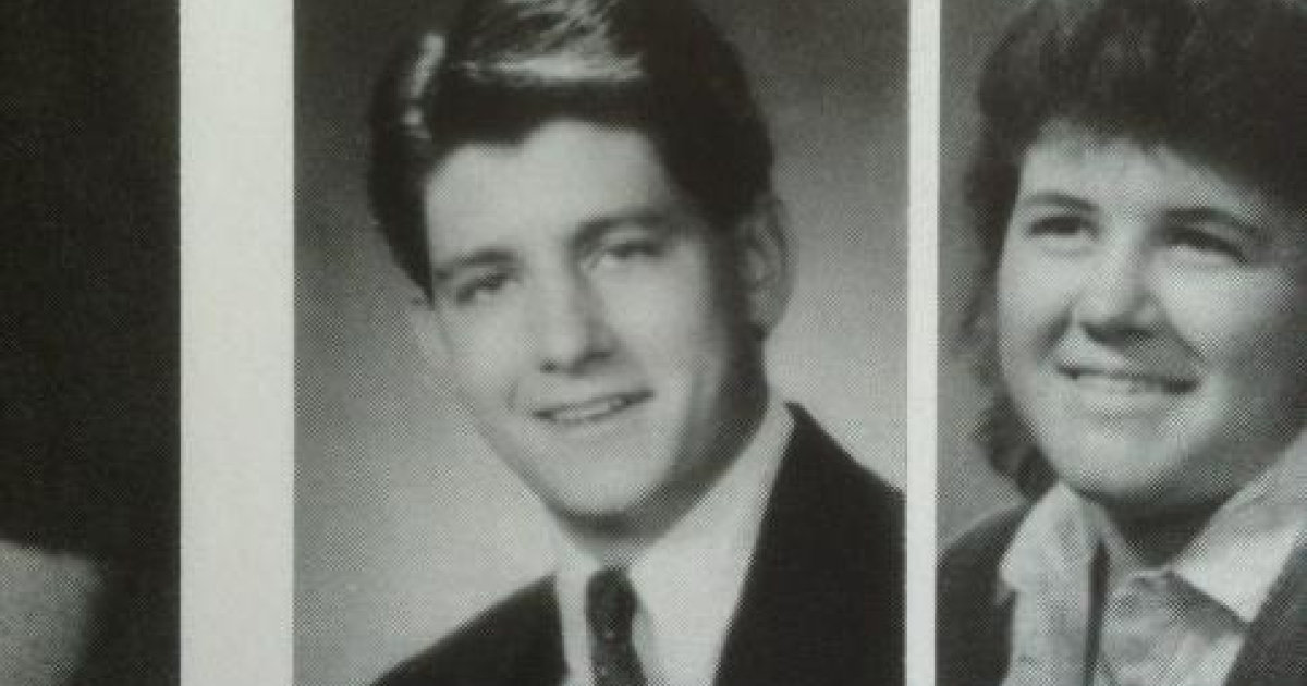 Paul Ryan's yearbook photo, one of many circulating on Twitter.</p>