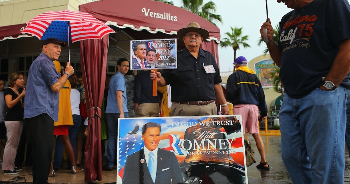 MIAMI, FL - SEPTEMBER 22: Supporters of Republican vice presidential candidate, U.S. Rep. Paul Ryan (R-WI) and Presidential candidate Mitt Romney are seen outside during a Ryan campaign stop at Versailles restaurant in the Little Havana neighborhood on September 22, 2012 in Miami, Florida. Ryan continues to campaign for votes across the country.</p>