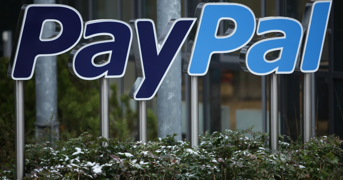 A sign for Internet payment transaction portal PayPal in Germany.</p>