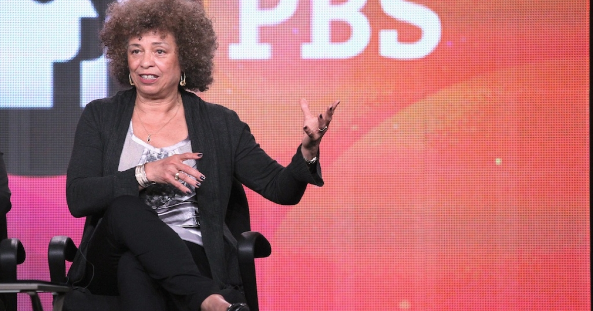 Author/activist Angela Davis speaks onstage during the PBS portion of the 2012 Winter TCA Tour on January 5, 2012 in Pasadena, California.</p>