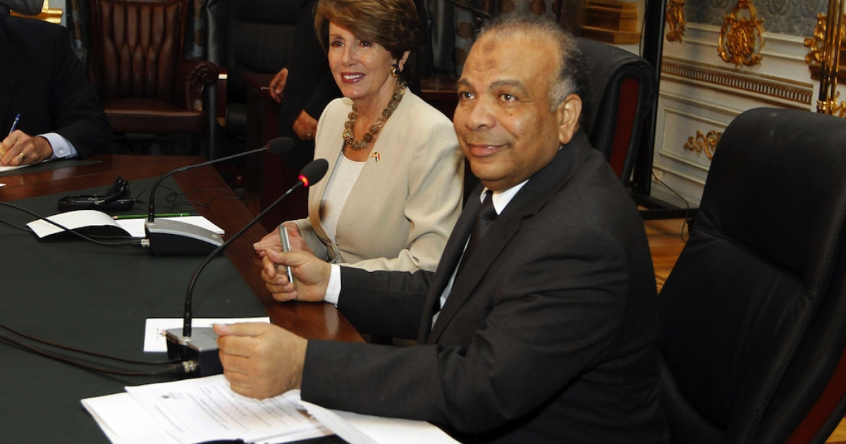 US congressional minority leader Nancy Pelosi meets with Egypt's Islamist Parliament Speaker Saad al-Katatni (R) in Cairo today  to discuss the issue of foreign funding for NGOs.</p>