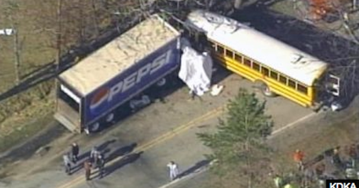 A school bus collided with a tractor-trailer in western Pennsylvania on March 14, 2012.</p>