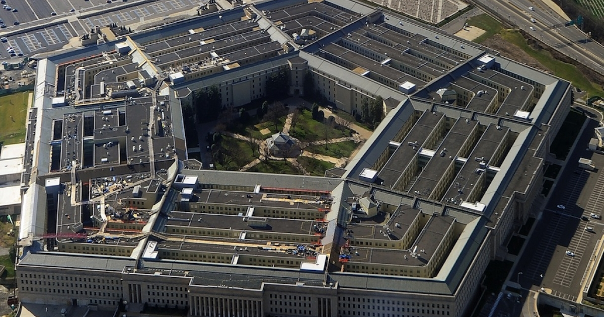 This picture taken 26 December 2011 shows the Pentagon building in Washington, DC. It is the world's largest office building by floor area. Approximately 23,000 military and civilian employees and about 3,000 non-defense support personnel work in the Pentagon.</p>