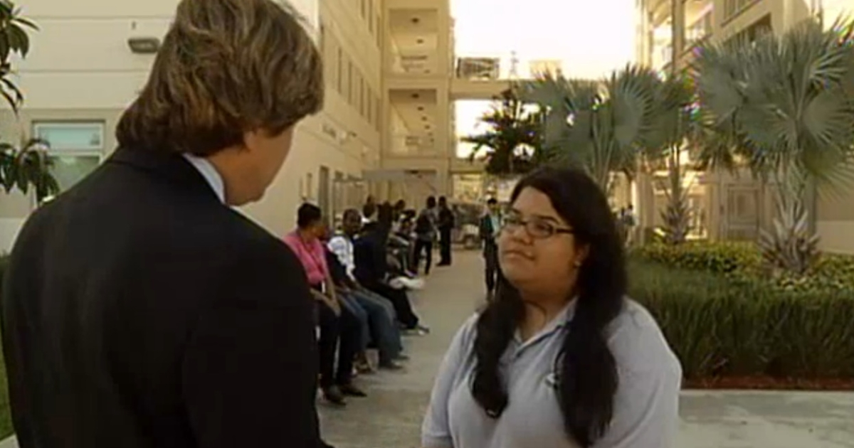 North Miami Senior High School valedictorian Daniela Pelaez talks to NBC about her plight.</p>
