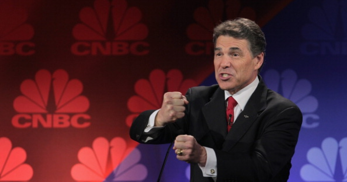 Republican presidential candidate Texas Governor Rick Perry answers a question during a debate hosted by CNBC and the Michigan Republican Party at Oakland University on November 9, 2011 in Rochester, Michigan.</p>