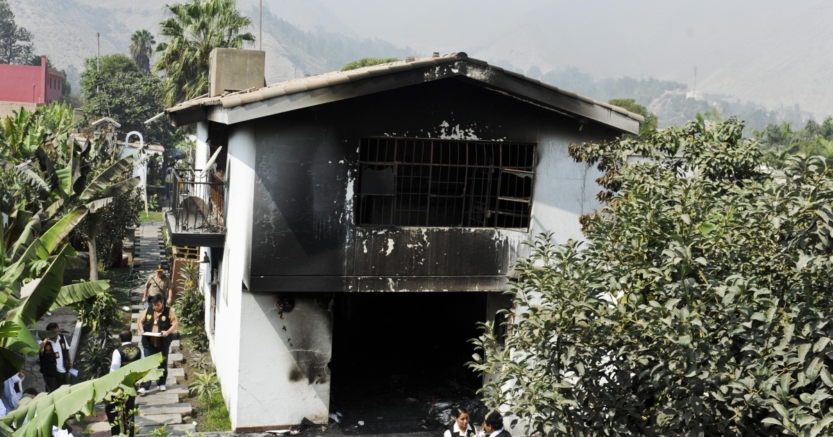 The Sagrado Corazon de Jesus drug rehab in Lima, Peru after a fire swept through killing over a dozen patients locked in their rooms on May 5.</p>
