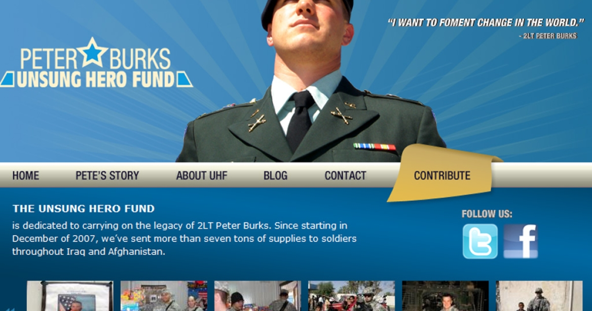 "Lt. Peter Burks' photo appeared on advertising for two dating websites next to the phrase ""military men searching for love."" Burks was killed in Iraq fives years ago. His parents have launched a lawsuit.</p>"