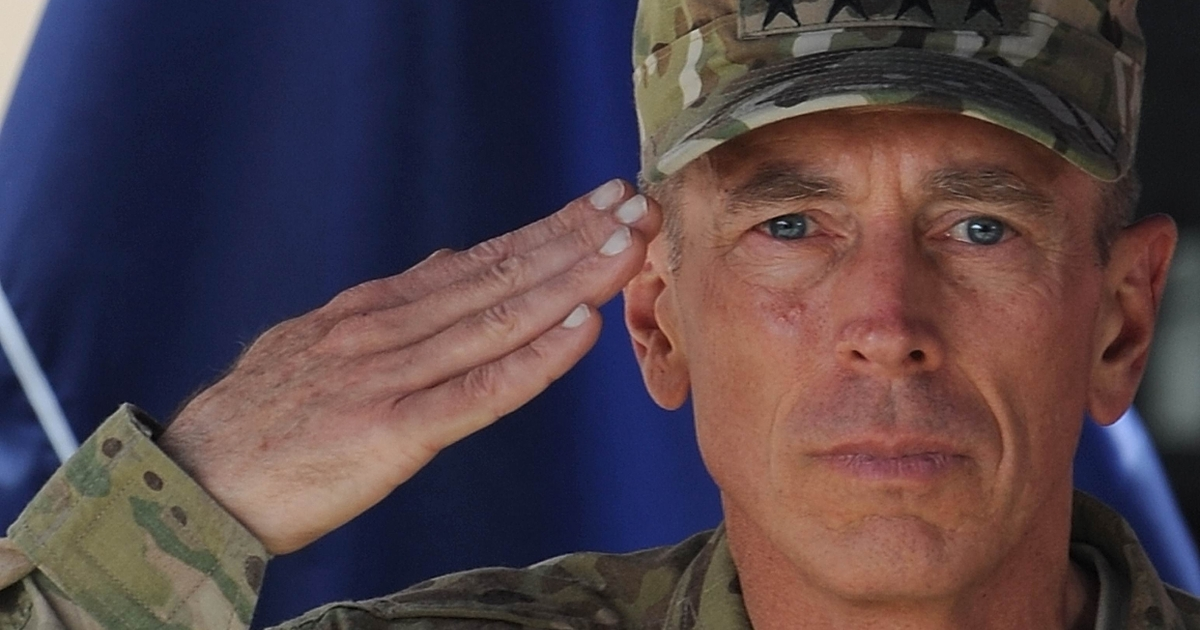 Gen. David Petraeus salutes during a change of command ceremony in Kabul, Afghanistan on July 18, 2011. Petraeus handed over command to Gen. John Allen.</p>