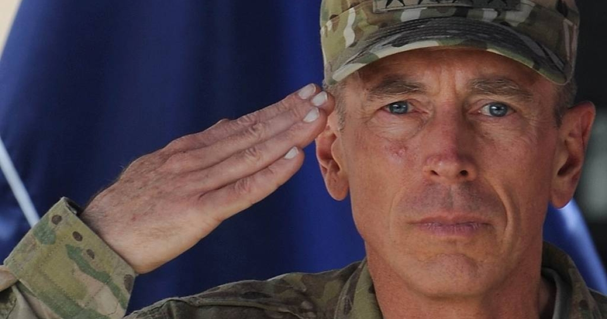 Commander of NATO troops in Afghanistan, U.S. General David Petraeus, salutes during a change of command ceremony at ISAF headquarters in Kabul.</p>