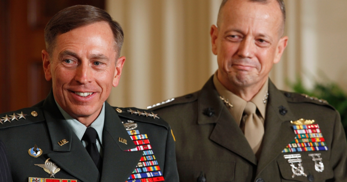 Gen. David Petraeus and Gen. John Allen on April 28, 2011 in Washington, DC. Petraeus resigned his post as CIA Director after news of an extramarital affair emerged, and Allen was also caught up in a related scandal.</p>