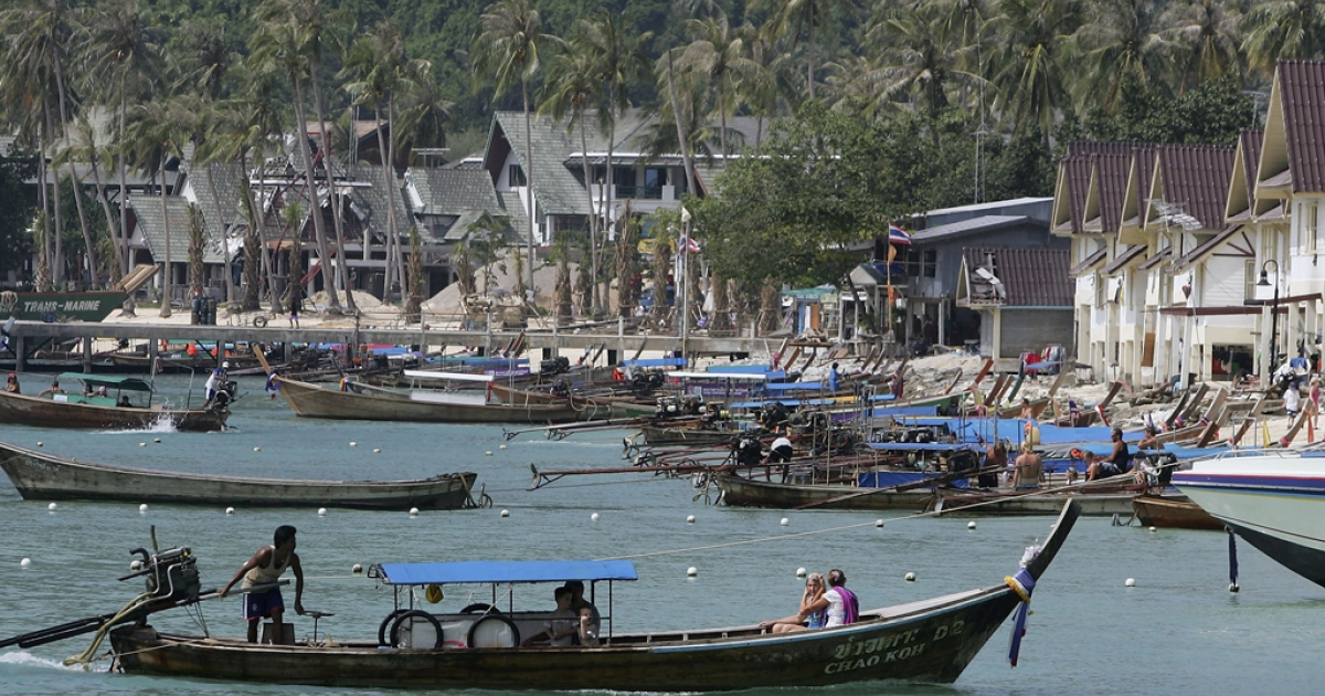 A view along a beach is seen on Phi Phi Island, Thailand.</p>