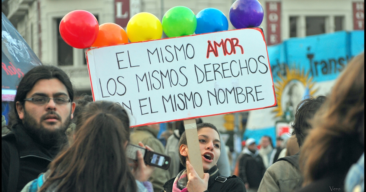 """The same love, the same rights, with the same name(s)"" was the slogan adopted by the Argentine LGBT Federation (FALGBT) and echoed by supporters from across the country.</p>"
