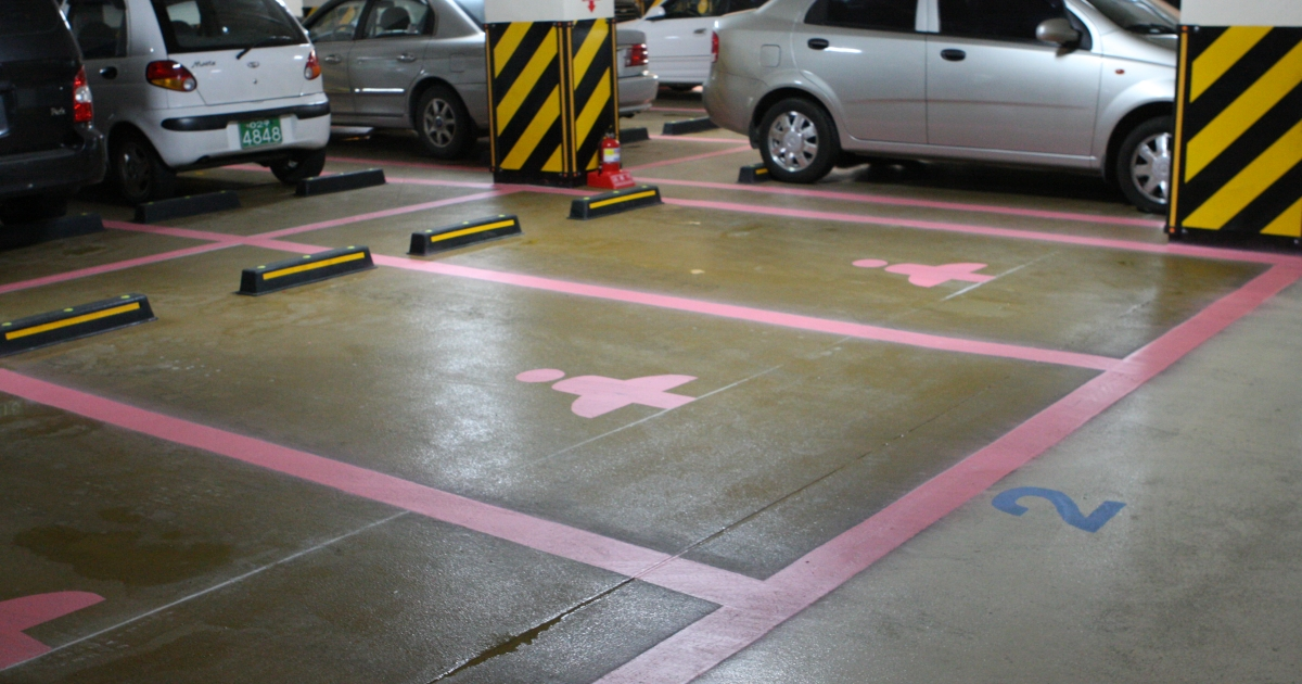 Priority parking spaces reserved for women in Seoul, Korea.</p>