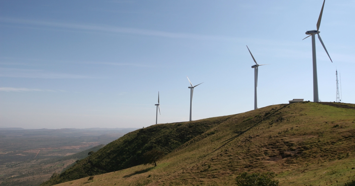 Kenya's first wind farm, on the Ngong Hills, outside Nairobi. It is due to start supplying electricity to the national grid in August. (Tugela Ridley/GlobalPost)</p>