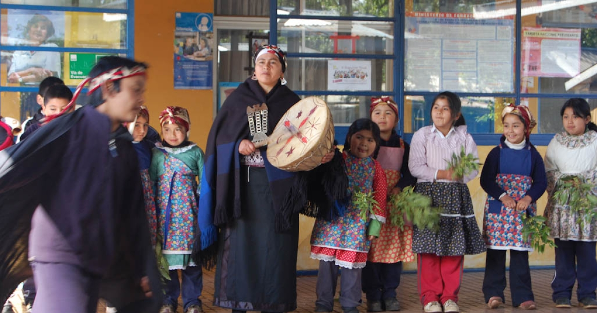 Mapuche children from the Colpanao community present a dance to greet a group of students from Santiago.</p>