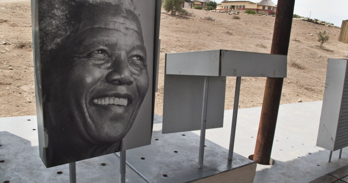 A portrait of Nelson Mandela is displayed in the small museum in rural Eastern Cape Province.</p>