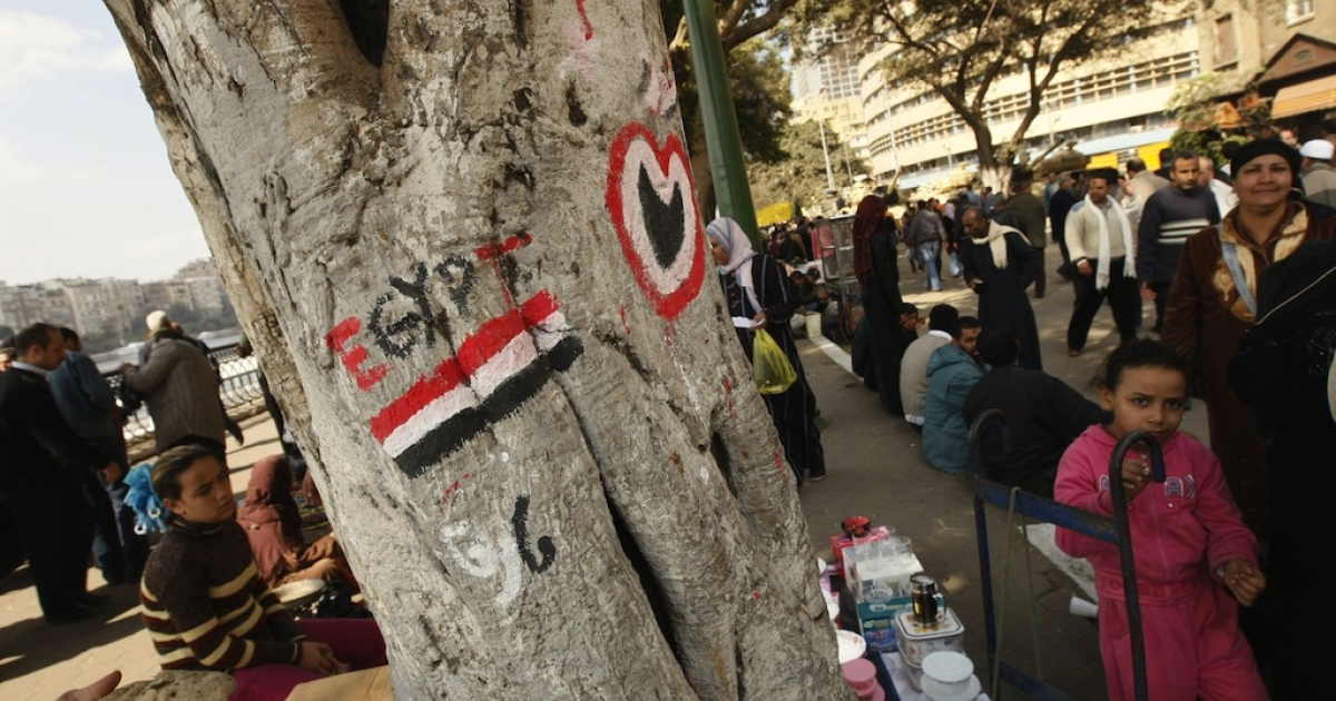 An Egyptian flag is painted on the trunk of a tree in Cairo on Feb. 14, 2011, three days after the overthrow of Egyptian President Hosni Mubarak. (Mohammed Abed/AFP/Getty Images)</p>