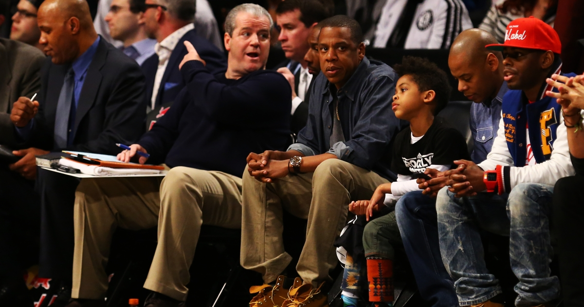 Jay-Z attends the game between the Brooklyn Nets and the Atlanta Hawks at Barclays Center on January 18, 2013.</p>