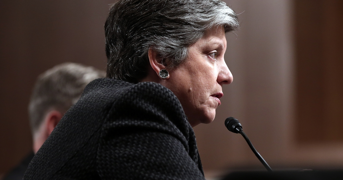 Homeland Security Secretary Janet Napolitano testifies before a Senate Commerce, Science and Transportation Committee and Senate Homeland Security and Governmental Affairs Committee joint hearing on Capitol Hill March 7, 2013 in Washington, DC. Napolitano testified on 'The Cybersecurity Partnership Between the Private Sector and Our Government: Protecting our National and Economic Security.'</p>