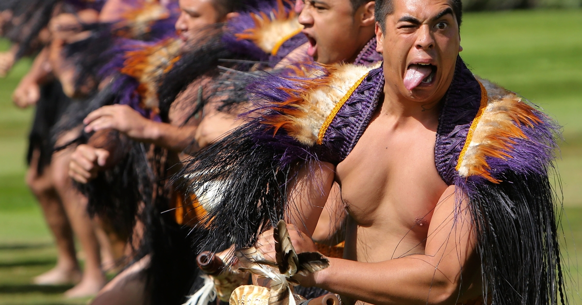 Maori warriors welcome the Sultan of Brunei Darussalam, His Majesty Hassanal Bolkiah on March 26, 2013 in Wellington, New Zealand.</p>