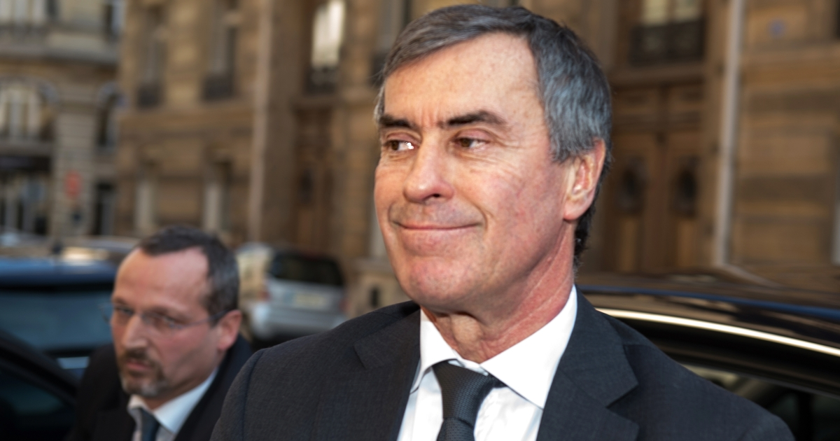 French former Budget minister Jerome Cahuzac arrives at the financial pole in Paris, on April 2, 2013. Cahuzac, who resigned on March 19, was being heard by investigating judges on April 2, 2013.</p>