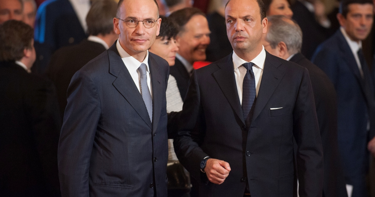 New Italian Prime Minister Enrico Letta (L) and vice Prime Minister Angelino Alfano attend the swearing in ceremony of the new government at Quirinale palace on April 28, 2013 in Rome, Italy.</p>
