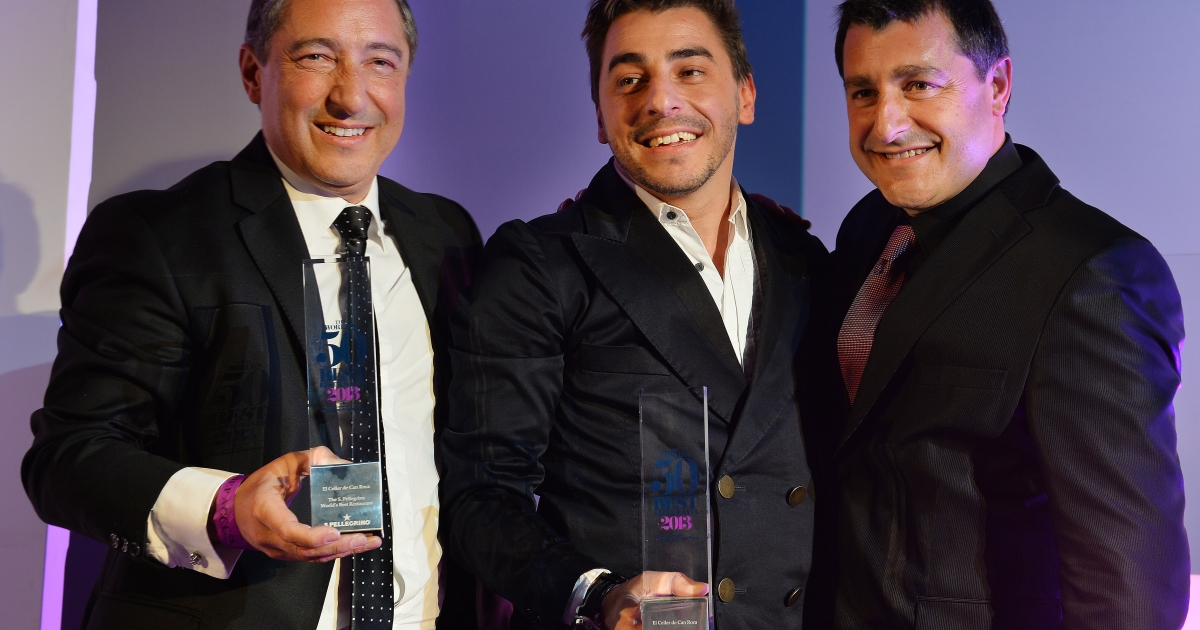 Spanish Chefs Joan Roca (L) Jordi Roca (C) and Josep Roca of El Celler de Can Roca Girona pose for photographs after winning the World's 50 Best Restaurants Awards 2013 at the Guildhall in London on April 29, 2013.</p>