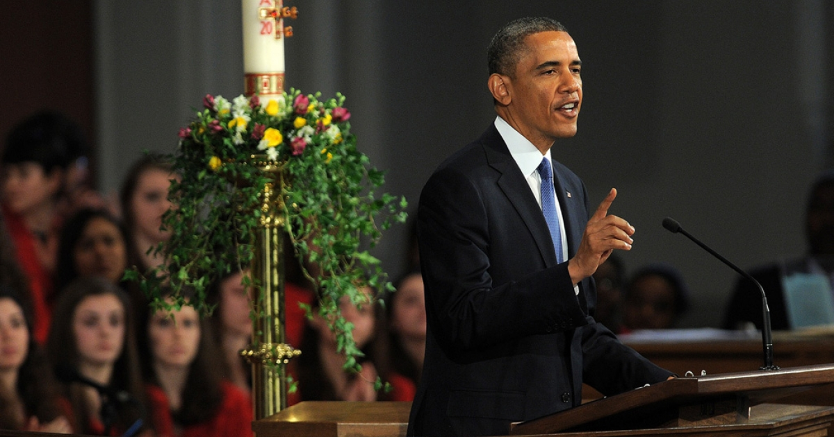 US President Barack Obama speaks during the