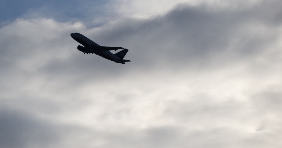 A US Airways Airbus A320 airplane takes off from Ronald Reagan Washington National Airport in Arlington, Virginia, March 28, 2013.</p>