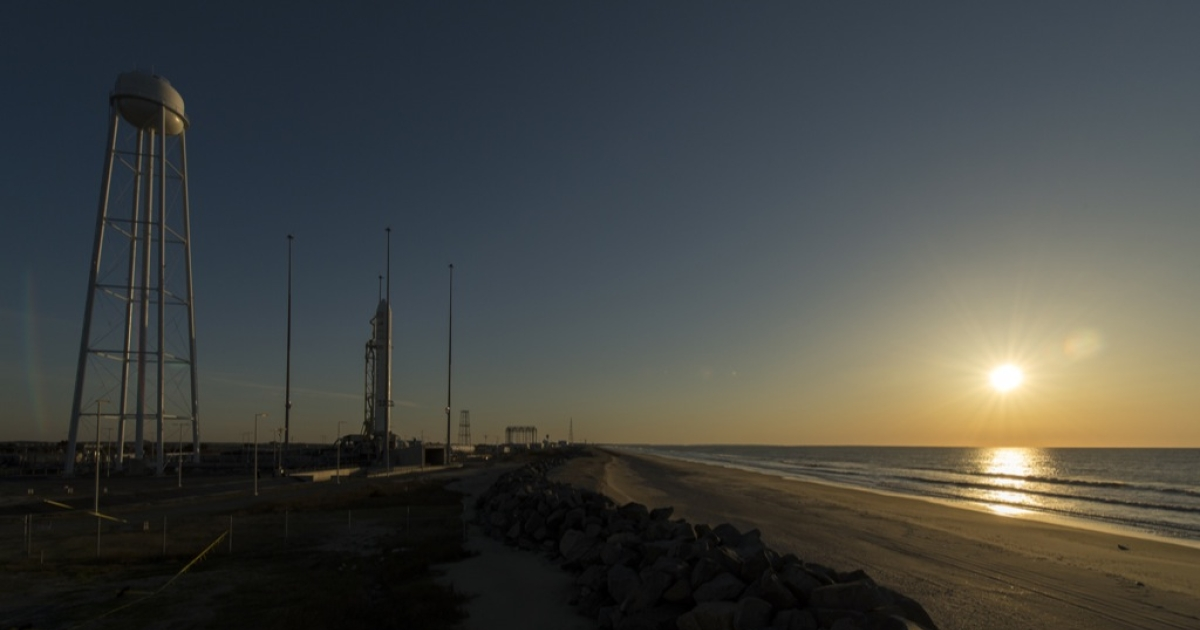 The Orbital Sciences Corporation Antares rocket is seen during sun rise on the Mid-Atlantic Regional Spaceport (MARS) Pad-0A at the NASA Wallops Flight Facility in Virginia, Sunday, April 21, 2013.  NASA's commercial space partner, Orbital Sciences Corporation, is scheduled to test launch its first Antares later in the day.  Photo Credit: (NASA/Bill Ingalls)</p>