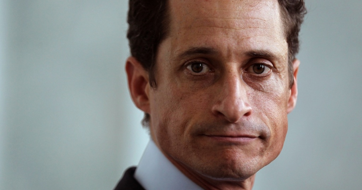 Former US Rep. Anthony Weiner (D-NY) speaks to the media regarding a lewd photo tweet May 31, 2011 on Capitol Hill in Washington, DC.</p>