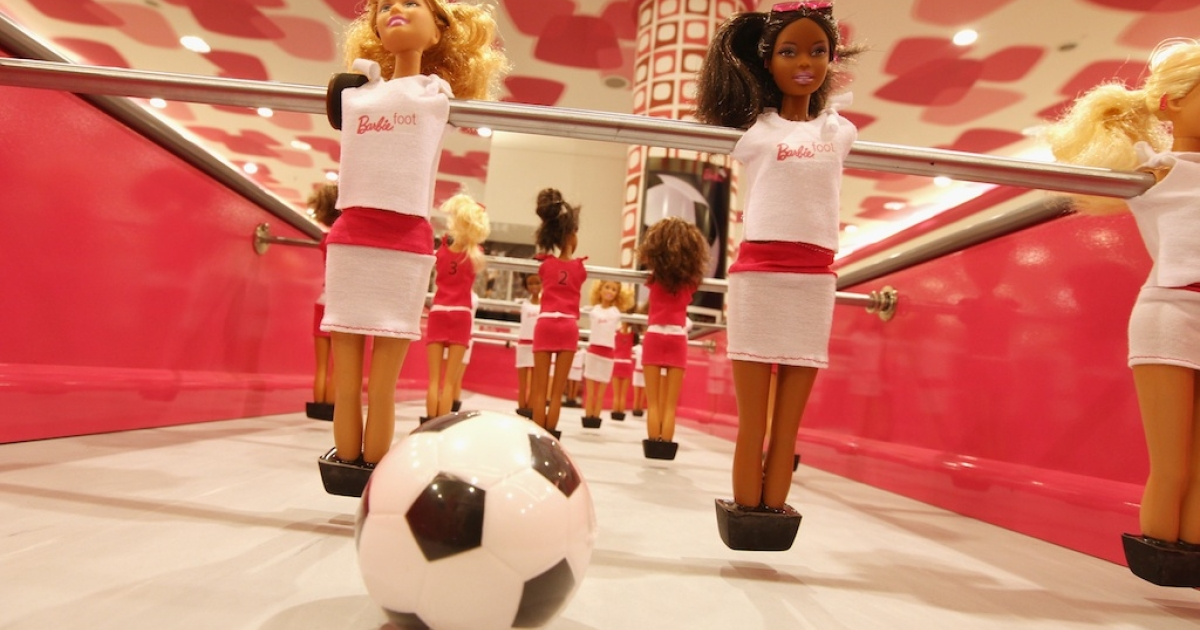 A special edition football table featuring Barbie Dolls that retails for EUR20,000 is on display at Berlin's KaDeWe department store on June 22, 2011.</p>