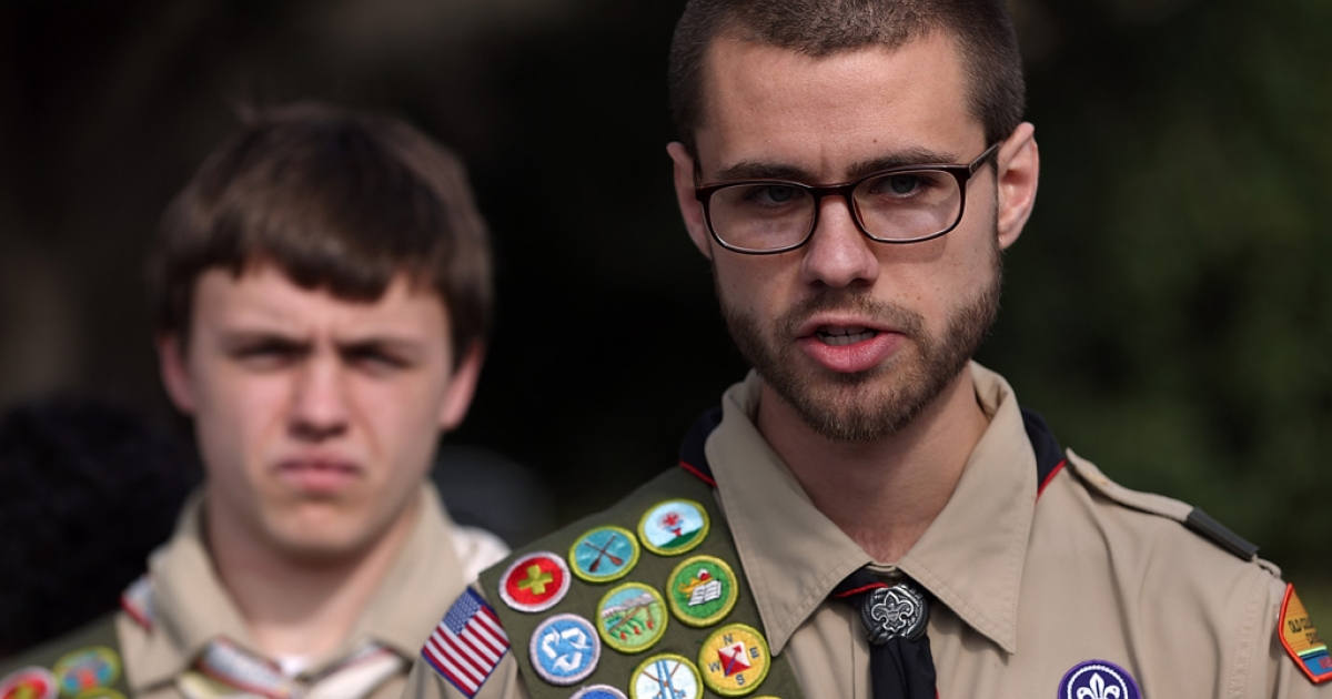 Eagle Scouts Will and James Oliver talk to media after delivering boxes containing 1.4 million signatures urging the Boy Scouts of America to reverse the organization's ban on gay Scouts on February 4, 2013 in Irving, Texas.</p>