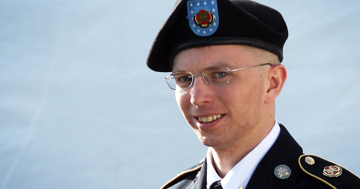 US Army Private Bradley Manning leaves a military court at the end of the first of a three-day motion hearing June 6, 2012 in Fort Meade, Maryland.</p>