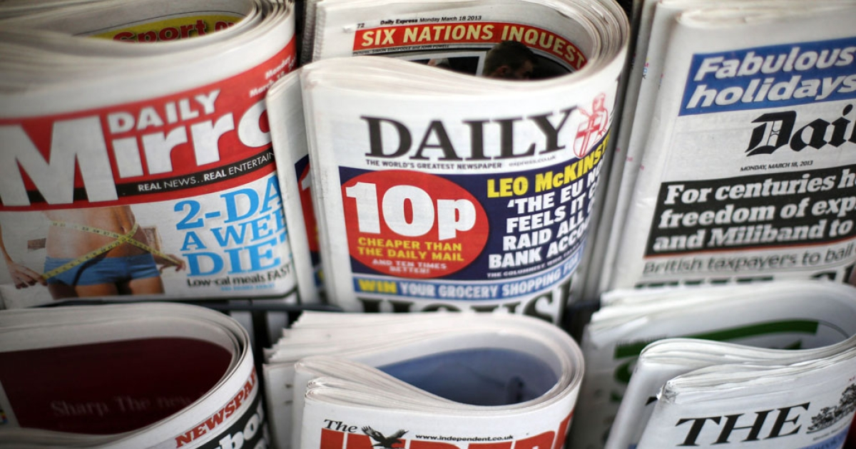 British newspapers displayed for sale on the day that the Conservatives, Labour and Lib Dems agreed to a deal on press reform in London, England. British newspapers rejected the proposed press regulations on April 26, 2013.</p>