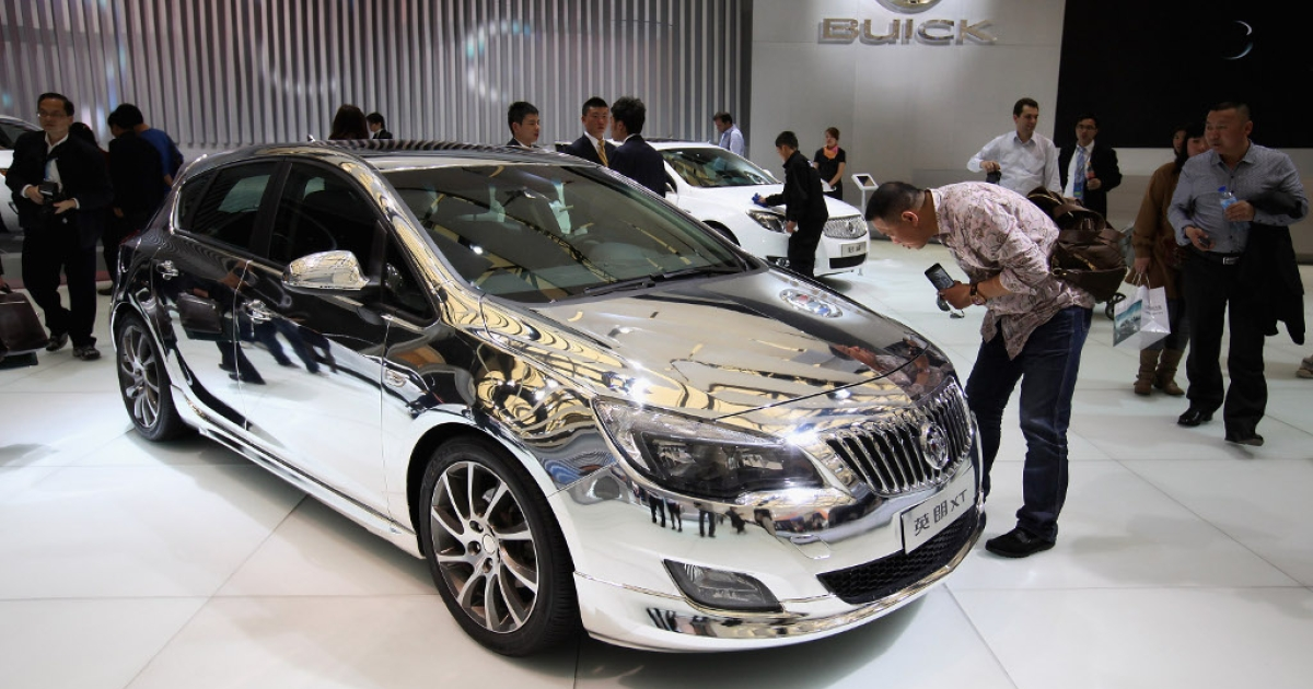A Buick Excelle XT car is displayed during the media day of the Shanghai International Automobile Industry Exhibition at Shanghai New International Expo Center on April 20, 2011 in Shanghai, China.</p>