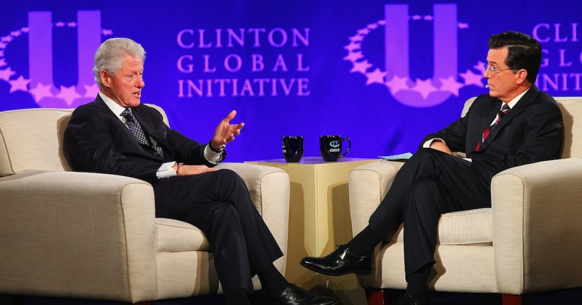 ST. LOUIS, MO - APRIL 6: Former President Bill Clinton and TV personality Stephen Colbert hold a discussion during the Clinton Global Initiative University at Washington University on April 6, 2013 in St Louis Missouri.</p>