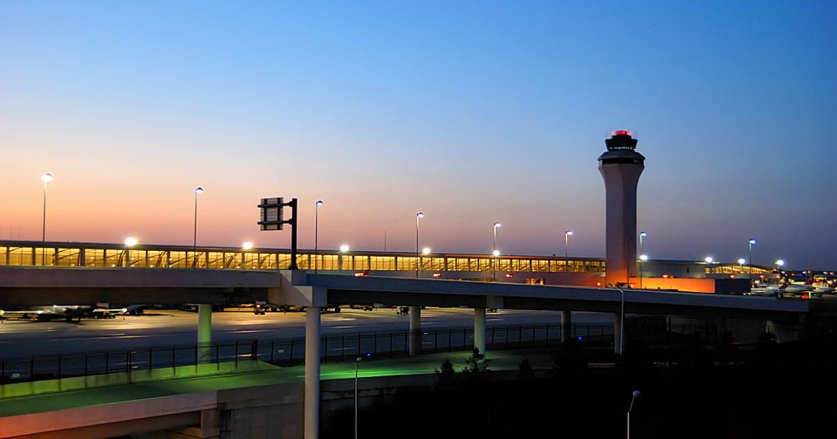 Detroit Metropolitan Wayne County Airport DTW Air Control Tower Sun Set.</p>