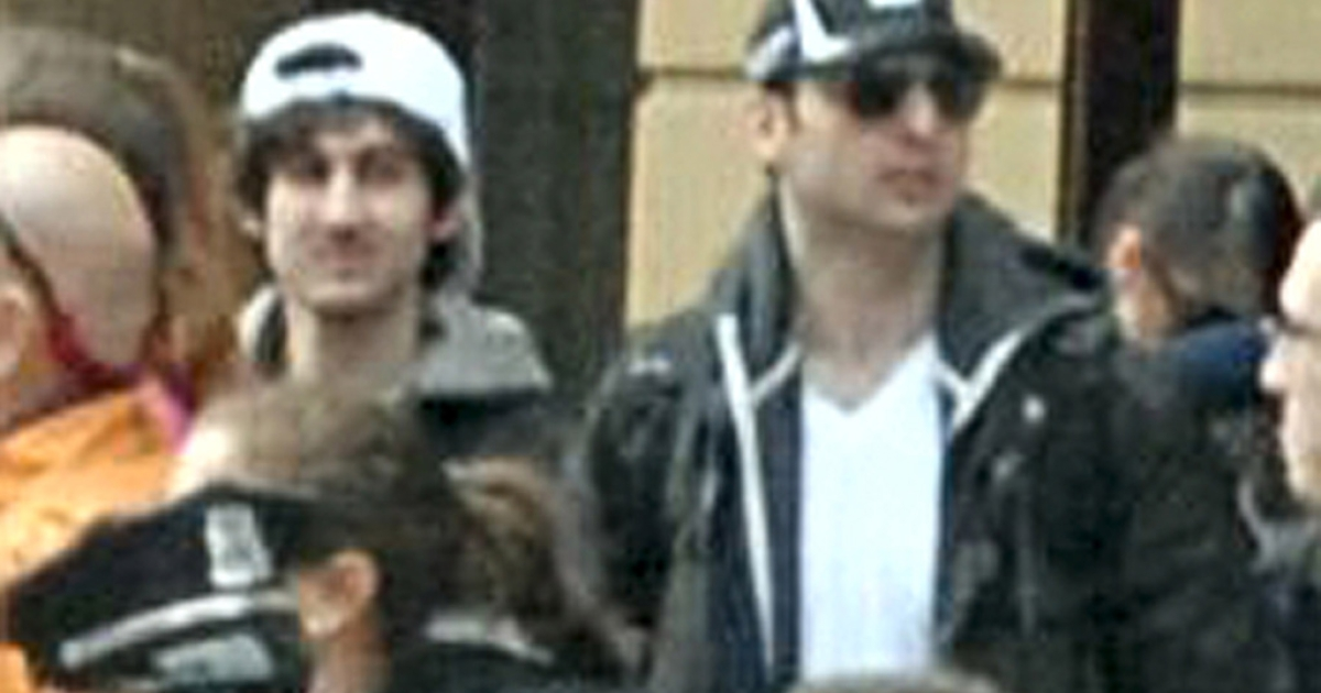 Dzhokhar and Tamerlan Tsarnaev at the Boston marathon.</p>