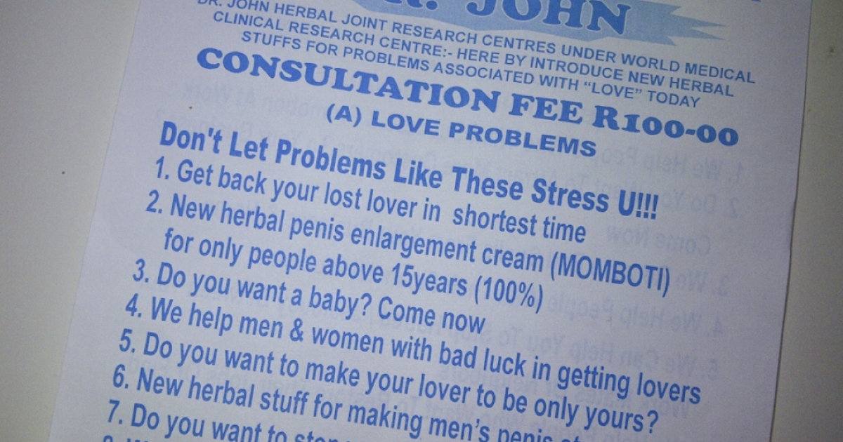 A pamphlet advertising herbal penis enlargement treatments sent to homes in Johannesburg, South Africa.</p>