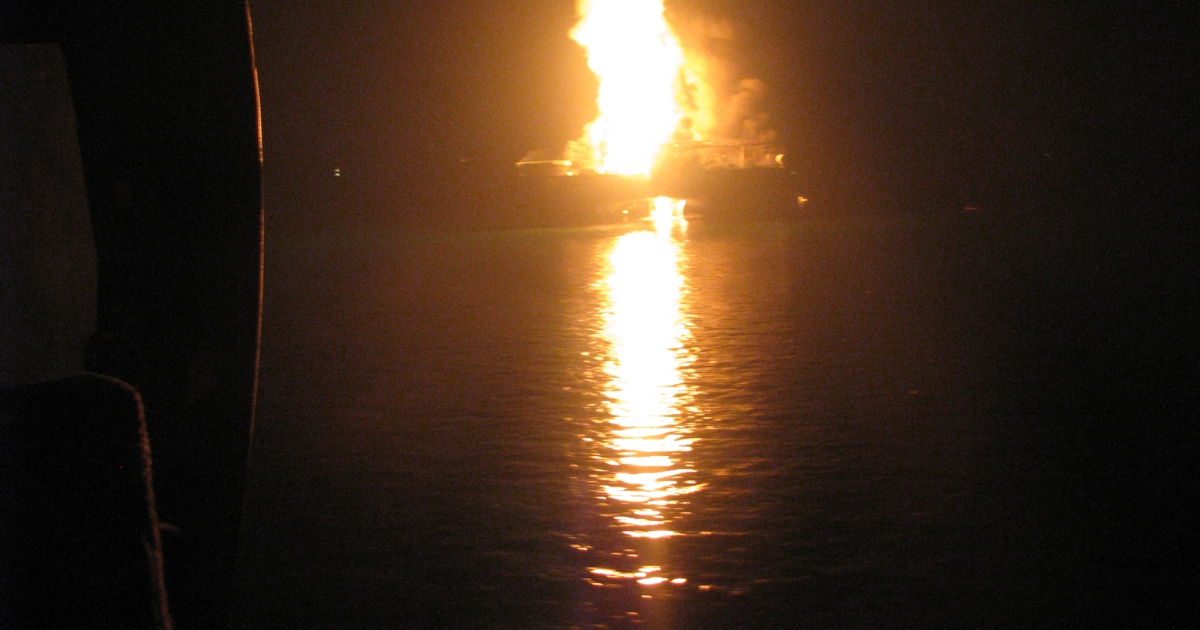 Two fuel barges exploded at a docking area on Alabama's Mobile River on the night of Wednesday, April 24, 2013.</p>